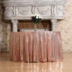 3e Home 120-Inch Round Sequin Tablecloth for Party Cake Dess