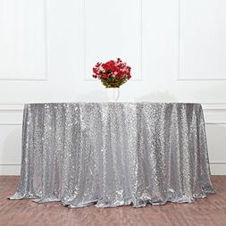 """3e Home 108"""" Round Sequin TableCloth for Wedding Party Cake"""