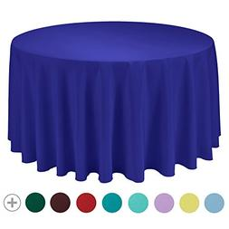 VEEYOO 132 inch Round Circular Solid Polyester Tablecloth fo