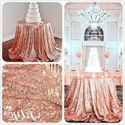 """90"""" Round Sparkly Rose Gold Sequin Table Cloth Sequin Table"""