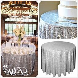 """TRLYC 90"""" Round Sparkly silver Sequin Table Cloth Sequin Tab"""