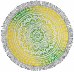 "Round Table Cloth ""Mandala Design"" Fringed Yellow/Green-72"""