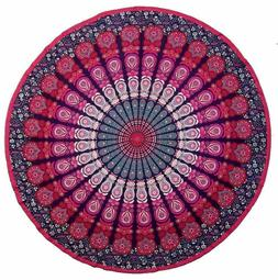 "Round Table Cloth ""Peacock Mandala"" Blue/Pink/Turquoise- 81"""