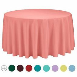 VEEYOO Round Tablecloth 108 inch - Solid Polyester Circular