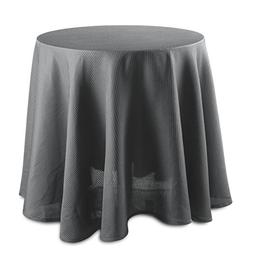 CAROMIO Round Tablecloth - 70 Inches - Grey Waffle Fabric Ta