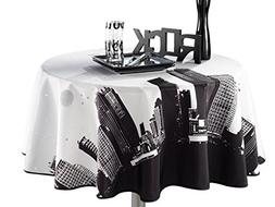 63-Inch Round Tablecloth Black and White New York, Stain Res