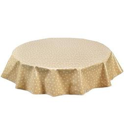 Round Freckled Sage Oilcloth Tablecloth in Dot White on Tan