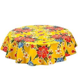Round Freckled Sage Oilcloth Tablecloth in Hawaii Yellow - Y