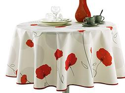 63-Inch Round Tablecloth Ivory White Red Poppy Flower, Stain
