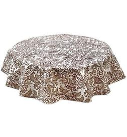 round tablecloth toile brown