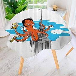 Philiphome Round Tablecloths-Carto Octopus Rated as King Kg