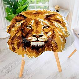 Philiphome Round Tablecloths-The Li King Biggest Cat in Afri