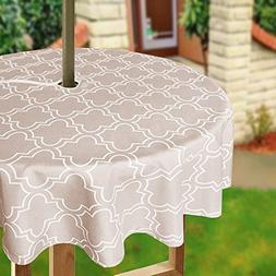 Eforcurtain 60Inch Round Umbrella Table Cover with Zipper Ge