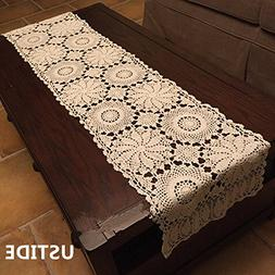 USTIDE Rustic Floral Table Runner Hand Crochet Table Doily B