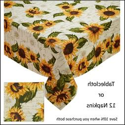 Rustic Sunflowers Printed Tablecloth or 12 Napkins Design Im