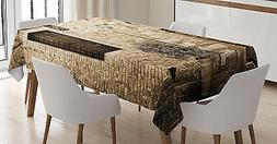 Rustic Tablecloth Stone House Sepia View Rectangular Table C