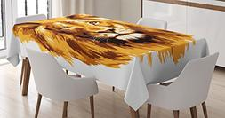 Ambesonne Safari Decor Tablecloth, Illustration of The Lion