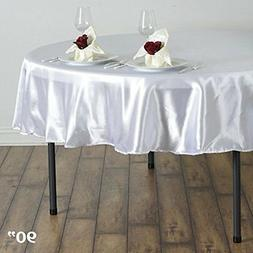 BalsaCircle 90-Inch White Round Satin Tablecloth Table Cover
