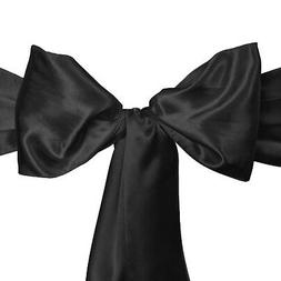 LinenTablecloth Satin Sash  Black