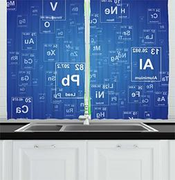 Ambesonne Science Kitchen Curtains, Chemistry Tv Show Inspir