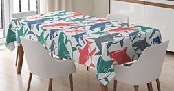 Sea Animal Decor Tablecloth by Ambesonne, Mix of Colorful Bu