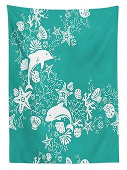 Sea Animals Decor Tablecloth Dolphins and Flowers Sea Floral