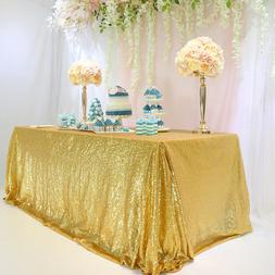 "Seamless 60""x102"" Gold Sequin Tablecloth Table Cover Table D"