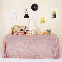 """GFCC Seamless Rose Gold Sequin Tablecloth 60""""x120"""""""