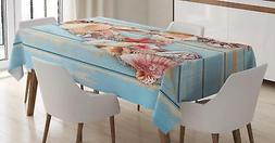 Seashell Letters Tablecloth Ambesonne 3 Sizes Rectangular Ta