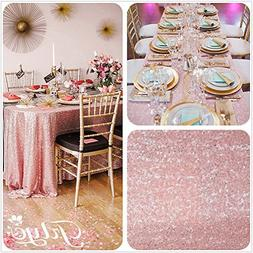 10FT 90''x196'' Blush Pink Sequins Wedding Square Tablecloth