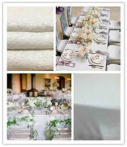 "90x132"" Sequin RECTANGULAR Tablecloth - White"