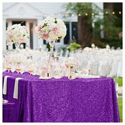 ShinyBeauty 60x102-Inch Sequin Tablecloth Purple Sequin Rect