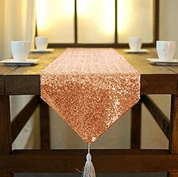 Shinybeauty Sequin Tassel Table Runner, 12 by 84-Inch-Rose G