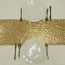 BalsaCircle 12 x 108-Inch Gold Sequined Table Top Runner - W
