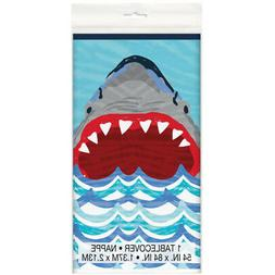 Shark Party Plastic Tablecover Tablecloth Decor Fun Under th