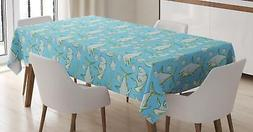 Shark Tablecloth Ambesonne 3 Sizes Rectangular Table Cover H