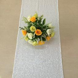 "Shiny White Sequin Table Runner 14"" x 108"" Sequin TableCloth"
