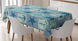 Ships Wheel Decor Tablecloth by Ambesonne, Nautical Patchwor