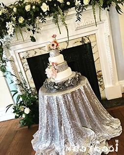 Silver Sequin Tablecloth Round 50 inch Glitter Table Cloth H