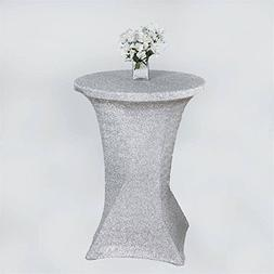Efavormart Silver Wholesale Stretchy Spandex Tablecover For