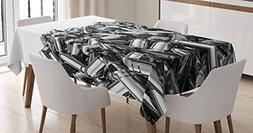 Ambesonne Silver Tablecloth by, Pile of Nine Millimeter Silv