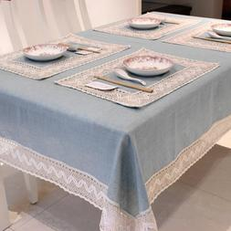 Simple Europe Blue Tablecloth <font><b>Linen</b></font> Cott