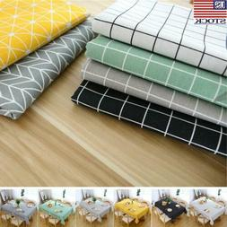 Simple Polyester Cotton Flax Tablecloth Rectangle Waterproof
