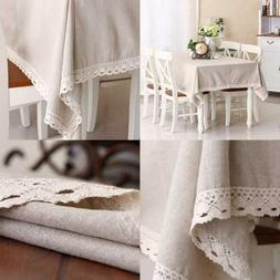 Enova Home Natural Simple Rectangle Cotton and Linen Washabl
