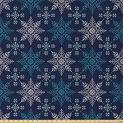 Ambesonne Snowflake Fabric by The Yard, Winter Holiday Theme