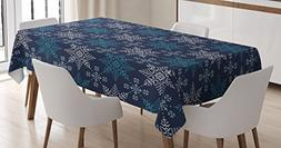 Ambesonne Snowflake Tablecloth, Winter Holiday Theme Eight P