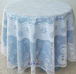 Snowman Family 70 Inch Round White Tablecloth Heritage Lace