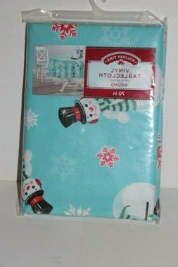 """Snowman Holiday Christmas Table Cloth - Vinyl 70"""" inch Round"""