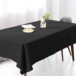 Wimaha Solid Black Rectangular Tablecloth for Rectangle Tabl