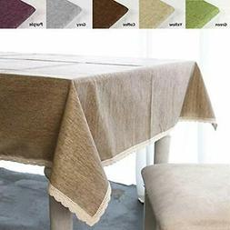 ColorBird Solid Cotton Linen Tablecloth